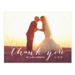 Obrigado do casamento da foto da escrita 2 você cartão postal