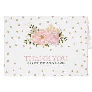 Obrigado do casamento da peônia do brilho você cartão comemorativo