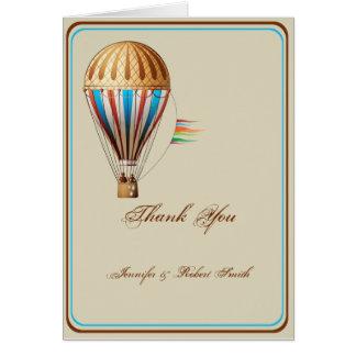 Obrigado do casamento do balão de ar quente do cartão de nota