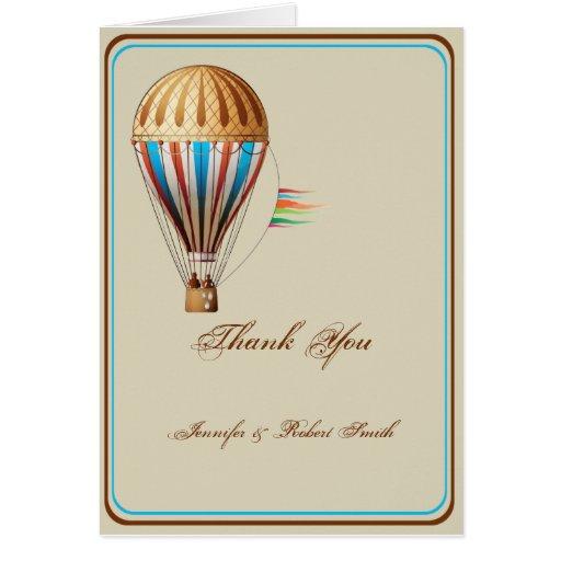 Obrigado do casamento do balão de ar quente do vin cartao