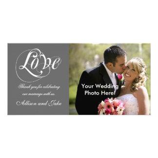 Obrigado do casamento do branco cinzento você mode cartoes com fotos