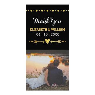 Obrigado do casamento do brilho do coração & da cartão com foto