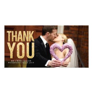 Obrigado do casamento do brilho do ouro você cartão com foto