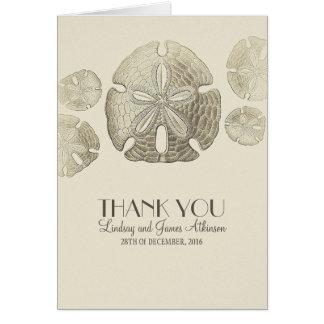 Obrigado do casamento do dólar de areia você cartõ cartão de nota