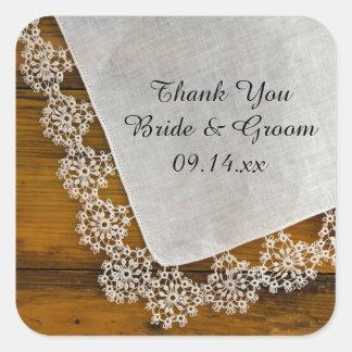 Obrigado do casamento do laço do país você adesivo em forma quadrada