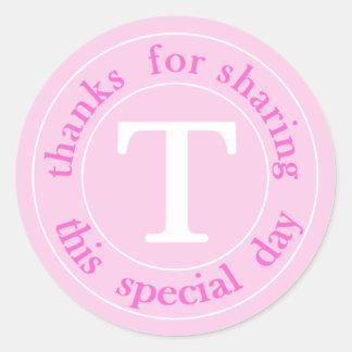 Obrigado do casamento do monograma do rosa quente adesivo
