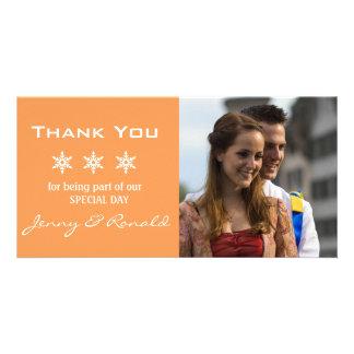 Obrigado do casamento do Natal do floco de neve Cartões Com Fotos Personalizados