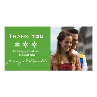 Obrigado do casamento do Natal do floco de neve Cartao Com Foto Personalizado