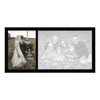 Obrigado do casamento do país da noiva e do trator cartão com foto