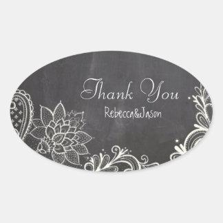 obrigado do casamento do quadro da tipografia do adesivo oval