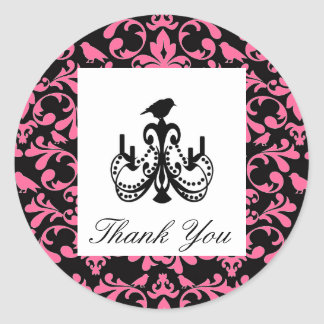 Obrigado do casamento do rosa quente você selo do adesivo