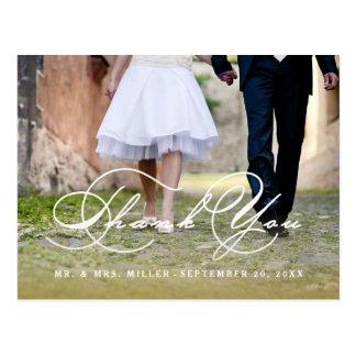 Obrigado do casamento do roteiro da caligrafia cartão postal