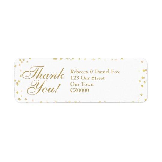 Obrigado do casamento dos confetes da poeira de etiqueta endereço de retorno