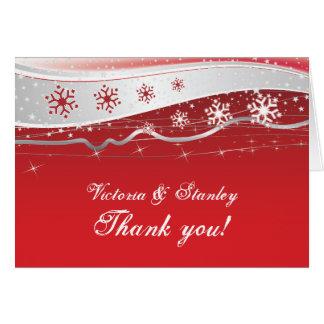 Obrigado do casamento no inverno do cinza cartão de nota