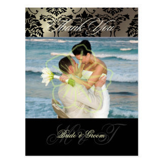 Obrigado do casamento tema damasco você cartão da cartão postal