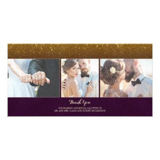 Obrigado do casamento vintage do brilho da ameixa cartão com foto
