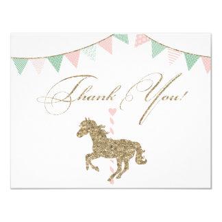 Obrigado do cavalo | do carrossel do brilho você convite 10.79 x 13.97cm