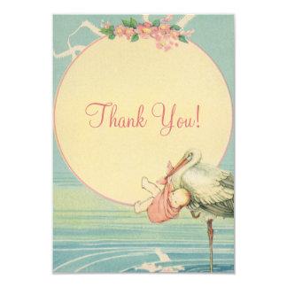 Obrigado do chá de fraldas da menina do rosa da convite 8.89 x 12.7cm