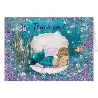 Obrigado do chá de fraldas da sereia você cartões