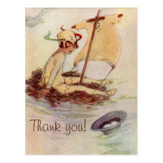 Obrigado do chá de fraldas de Peter Pan do vintage Cartão Postal