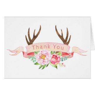 Obrigado do chá de fraldas do Antler você cartões