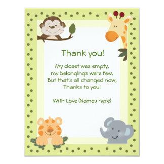 Obrigado do chá de fraldas dos animais do safari convite 10.79 x 13.97cm