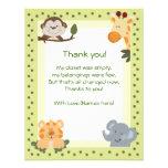 Obrigado do chá de fraldas dos animais do safari d convites personalizados