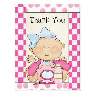 Obrigado do chá de fraldas você cartão da menina