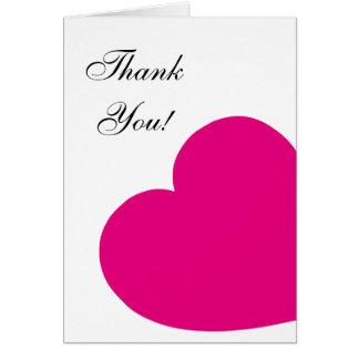 Obrigado do coração do rosa quente você cartão de nota