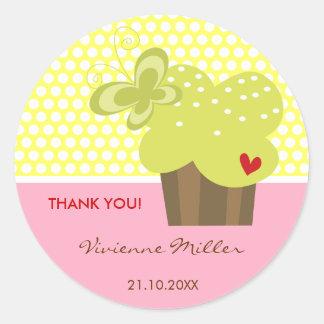 Obrigado do cupcake do limão você Tag do presente Adesivos Redondos