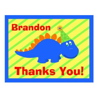 Obrigado do dinossauro do aniversário você cartão