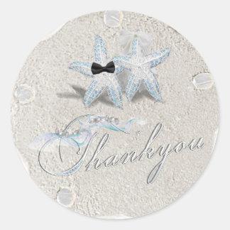 Obrigado do dólar de areia da estrela do mar você adesivo redondo