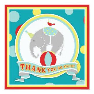 Obrigado do elefante do circo você azul convite quadrado 13.35 x 13.35cm
