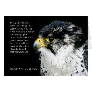 Obrigado do falcão de peregrino você cartão do