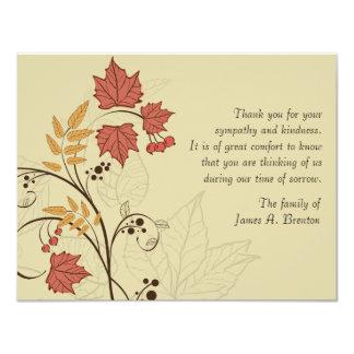 Obrigado do falecimento das folhas de outono você convite 10.79 x 13.97cm