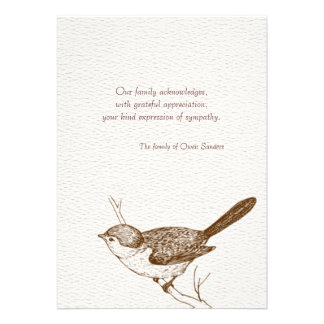 Obrigado do falecimento do pássaro de Brown você n Convites