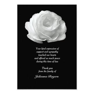 Obrigado do falecimento do rosa branco você convite 8.89 x 12.7cm