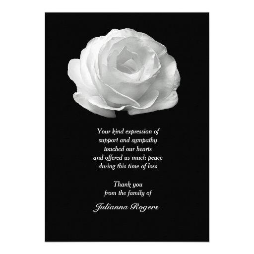 Obrigado do falecimento do rosa branco você Noteca Convite Personalizados