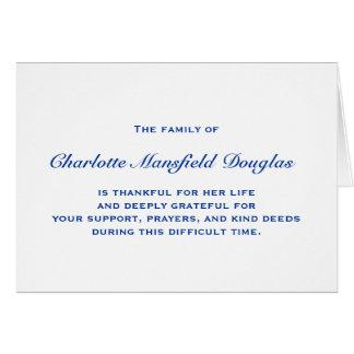Obrigado do falecimento e da simpatia você notas cartão comemorativo
