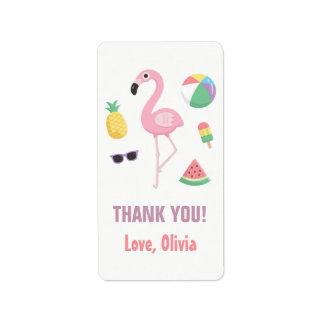 Obrigado do flamingo da melancia do abacaxi você etiqueta de endereço