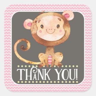 Obrigado do macaco da menina você etiqueta