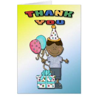 Obrigado do menino B da festança do aniversário Cartão De Nota