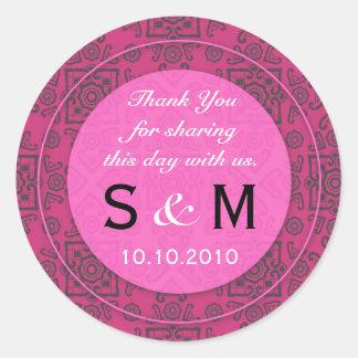 Obrigado do monograma do casamento do rosa quente adesivo