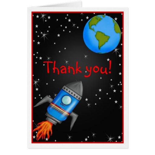 Obrigado do navio do foguete de espaço você cartão