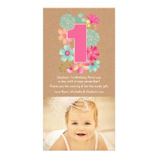 Obrigado do número 1 do primeiro aniversario das cartão com foto