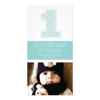 Obrigado do número 1 do primeiro aniversario do be cartão com foto