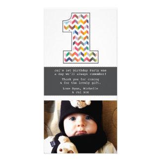Obrigado do número 1 do primeiro aniversario do cartoes com foto personalizados