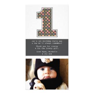 Obrigado do número 1 do primeiro aniversario do cartões com fotos personalizados