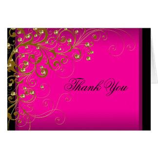 Obrigado do ouro do rosa quente você cartões