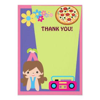 Obrigado do partido da pizza da menina você convite 12.7 x 17.78cm